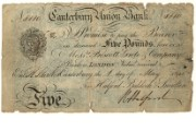 £5 note of Canterbury Union Bank, 1841