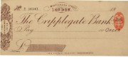 Cheque form of Cripplegate Bank Ltd, 1896