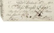 Cheque issued by Wright & Co, 14 April 1830