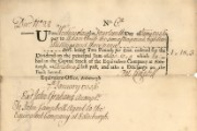 Equivalent Company dividend certificate in the name of Adam Smith, 1736