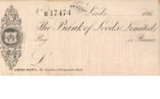 Unissued cheque form of Bank of Leeds, 1860s