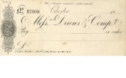 Cheque form of Messrs Dixons & Co, 1878