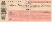Cheque form of Bombay branch of Grindlay & Co Ltd, c.1930