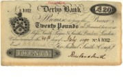£20 banknote of Derby Bank, 30 July 1890