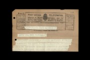 Foreign delegate's telegram, 1931