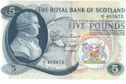 David Dale depicted on a £5 banknote, 1966