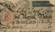 Details from a Royal Bank of Scotland one guinea note, 1792