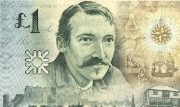 Detail of Robert Louis Stevenson commemorative £1 note, 1994