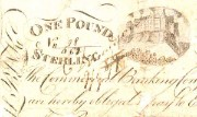 Detail of a counterfeit Commercial Bank of Scotland £1 note, 1810