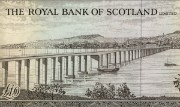 Detail of a Royal Bank of Scotland £10 note, 1969
