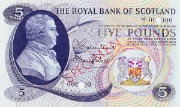 Detail of a Royal Bank of Scotland £5 note, 1966