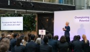 Alison Rose addresses employees in a stand-up presentation on 'championing potential'