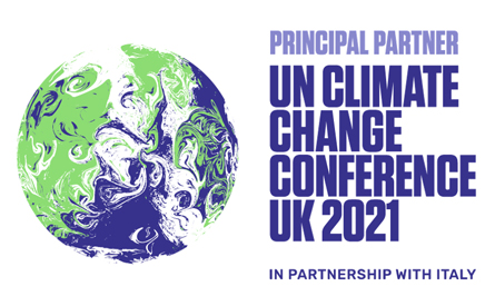 COP26 globe symbol - Principal Partner UN Climate Change Conference UK 2021 in partnership with Italy
