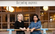 Alison Rose and Asma Khan stand outside the Darjeeling Express