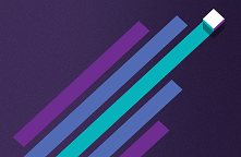 Purple, blue and turquoise diagonal lines on a dark blue background